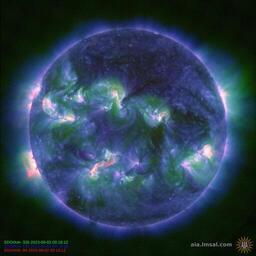 Солнечная корона, композитное изображение 94, 335, 193 Å